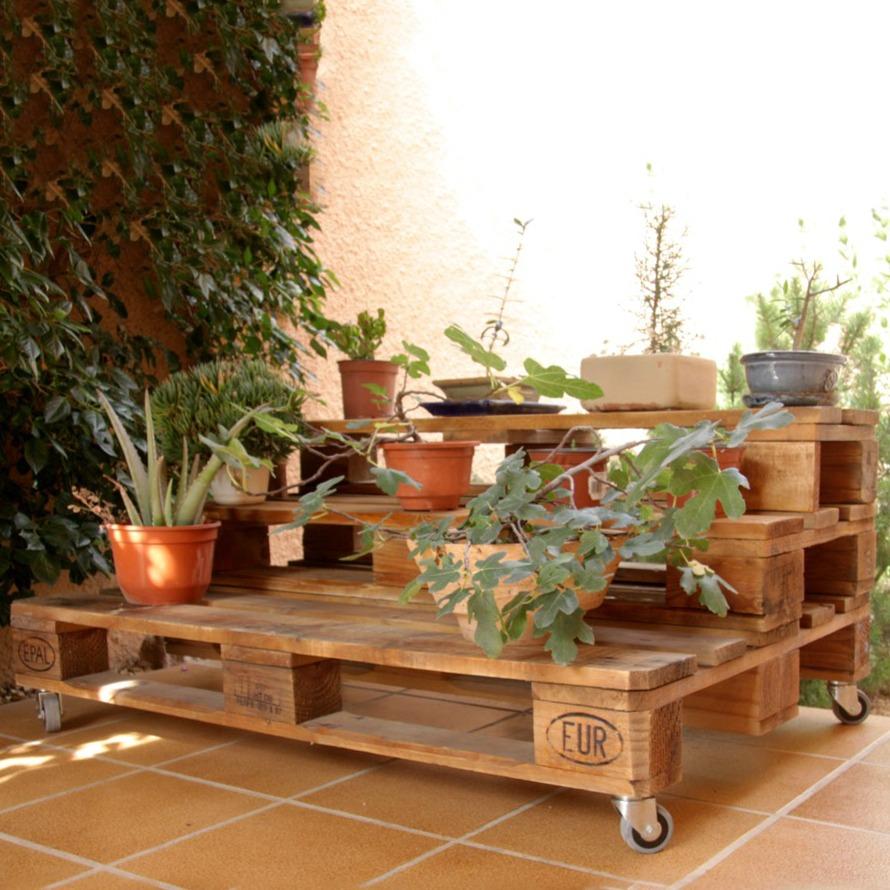 Jardinera palets marbor ecodeco mobiliario - Jardineras con ruedas ...