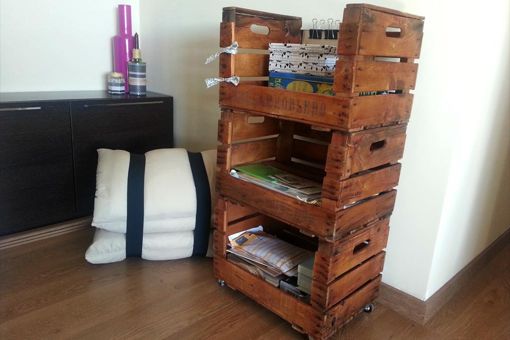 Estanteria cajas de fruta morera ecodeco mobiliario for Muebles con cajas de fruta