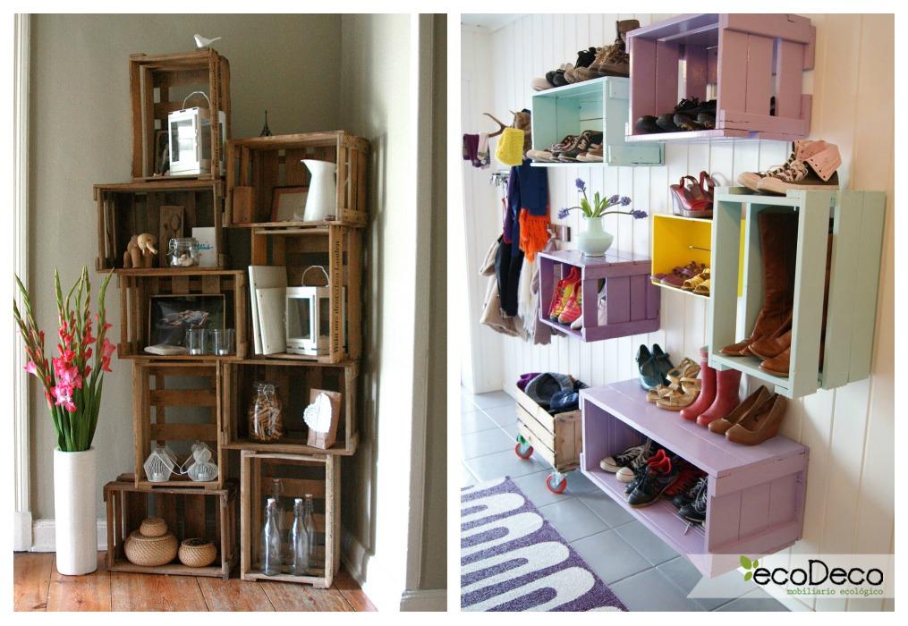 Estanter as con cajas de fruta ecodeco mobiliario for Estanterias con cajas de madera