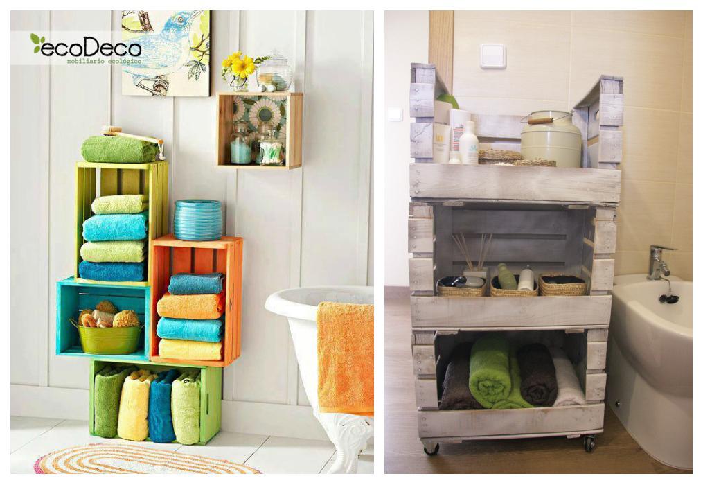 Estanter as con cajas de fruta ecodeco mobiliario - Decorar casa con cosas recicladas ...