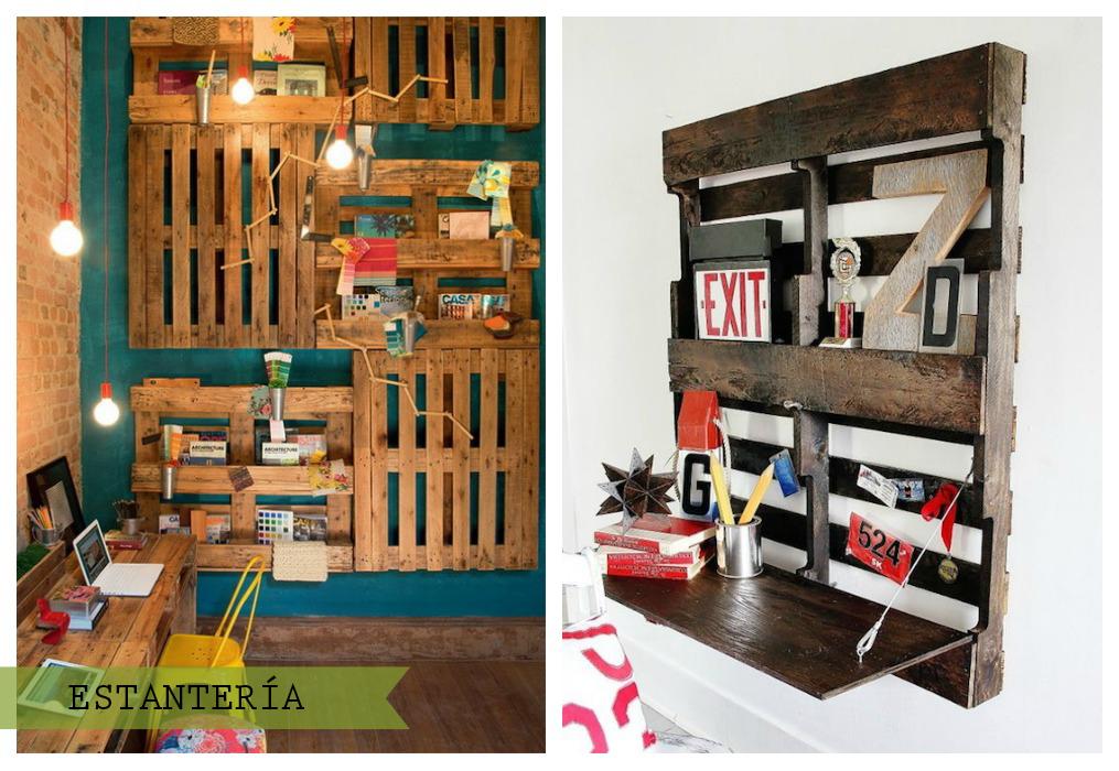 Palets en la pared ecodeco mobiliario - Estanterias de palets ...