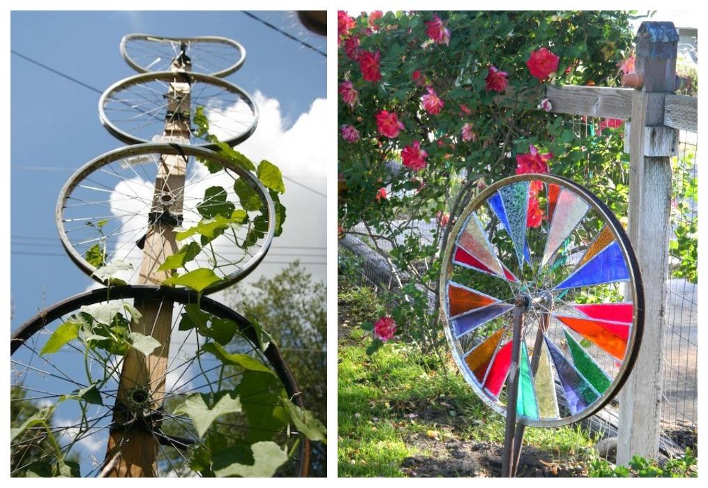 Reciclaje de ruedas de bici ecodeco mobiliario for Guardar bicicletas en el jardin
