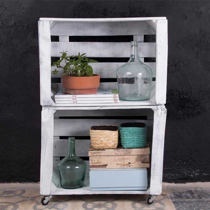 Estanteria cajas de fruta morera ecodeco mobiliario - Cajas fruta decoracion ...