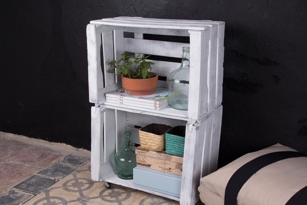 Estanteria cajas de fruta morera ecodeco mobiliario for Mesa con cajas de fruta