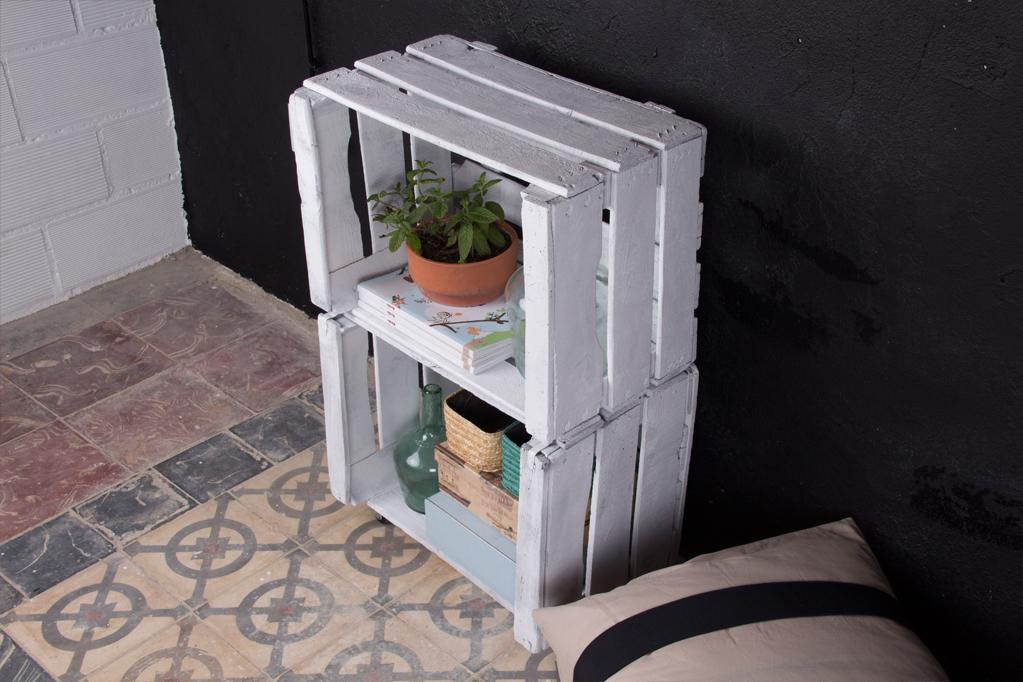 Estanteria cajas de fruta morera ecodeco mobiliario - Cajas de fruta decoracion ...