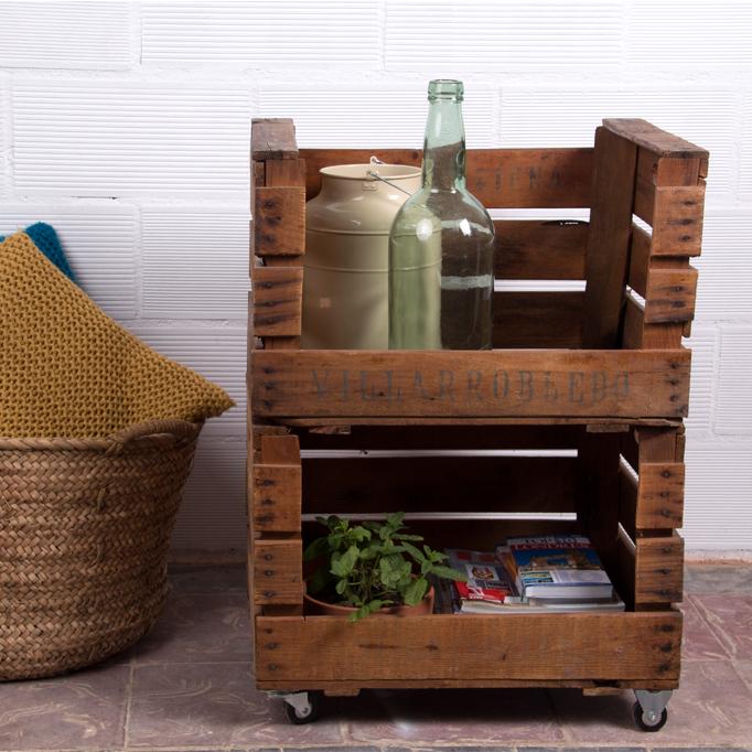 Estanteria cajas de fruta morera ecodeco mobiliario - Cajones de fruta de madera ...