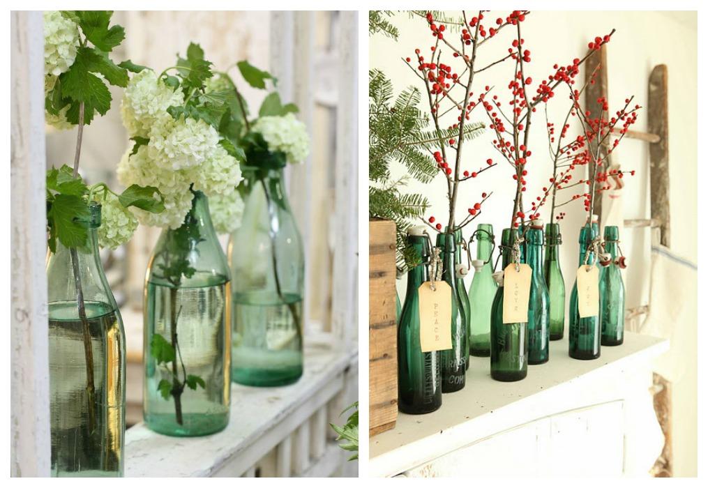 Decorar con botellas verdes ecodeco mobiliario - Decoracion para jarrones ...