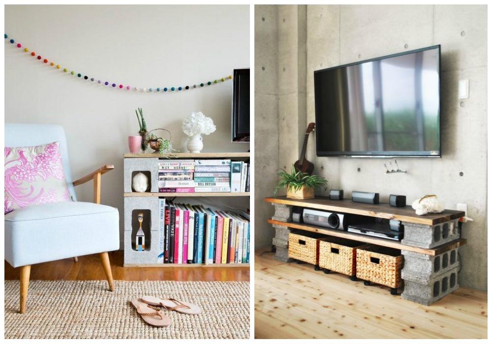 mueble para tv de ladrillos
