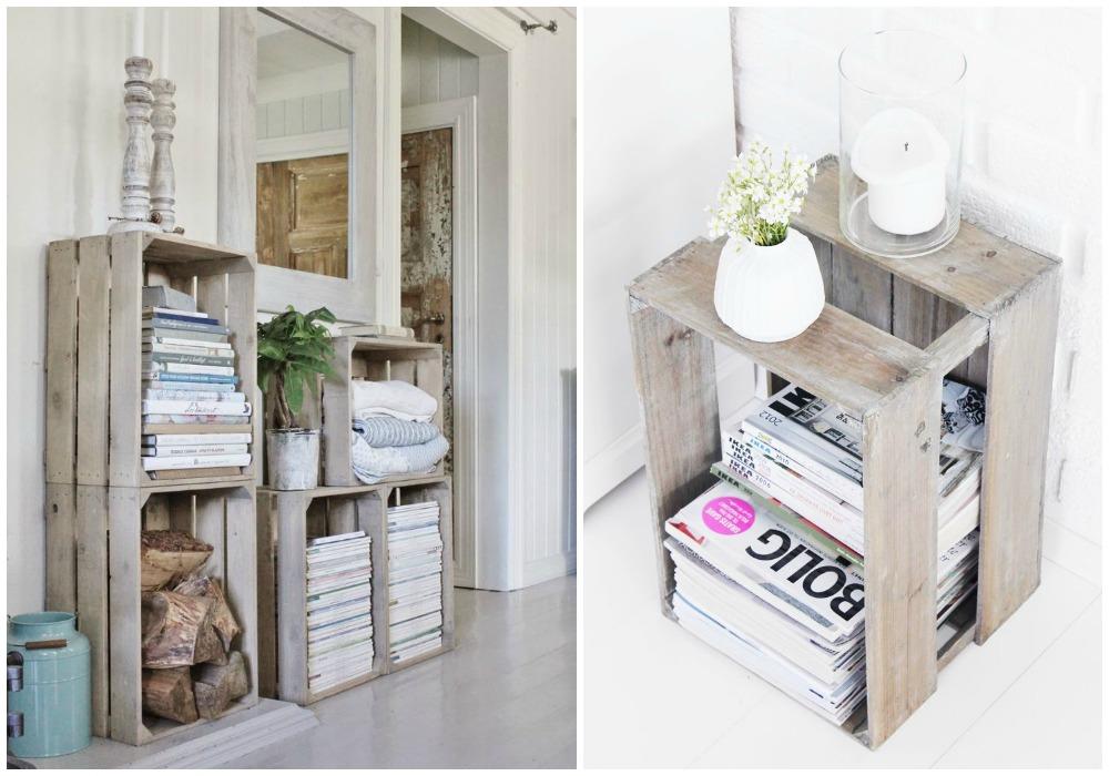 Almacenar revistas ecodeco mobiliario - Cajas de fruta ...
