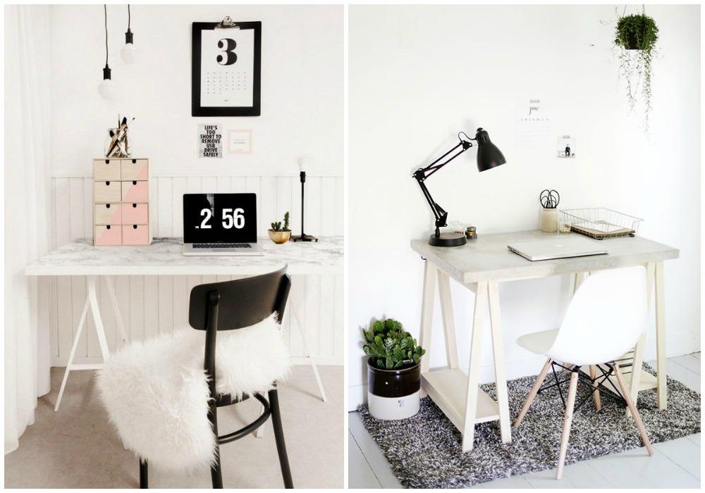 Diy escritorio ecodeco mobiliario - Mesa con caballetes ...