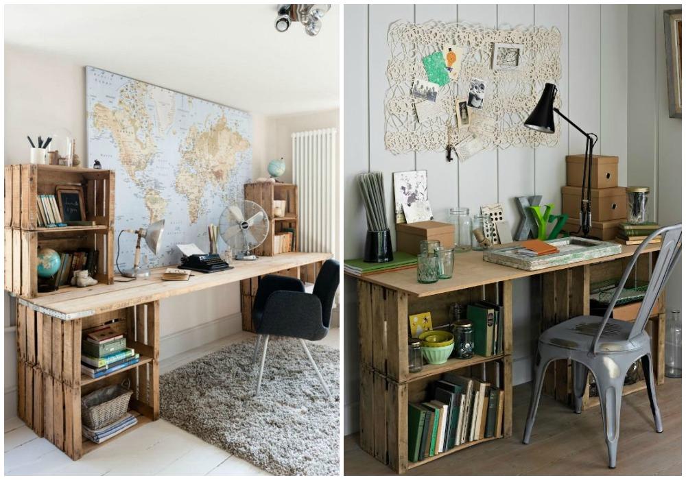 Diy escritorio ecodeco mobiliario for Mesa con cajas de fruta