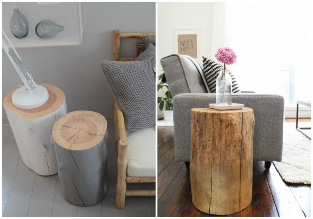 Diy mesa auxiliar ecodeco mobilario - Mesas de troncos de madera ...