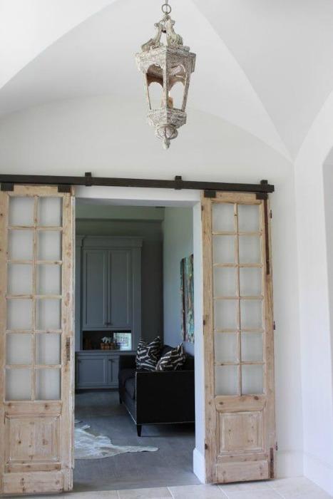 Puertas antiguas dobles correderas madera salon ecodeco for Puertas dobles antiguas