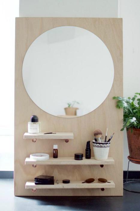 Diy espejo redondo estantes tablero madera tocador for Espejo redondo madera