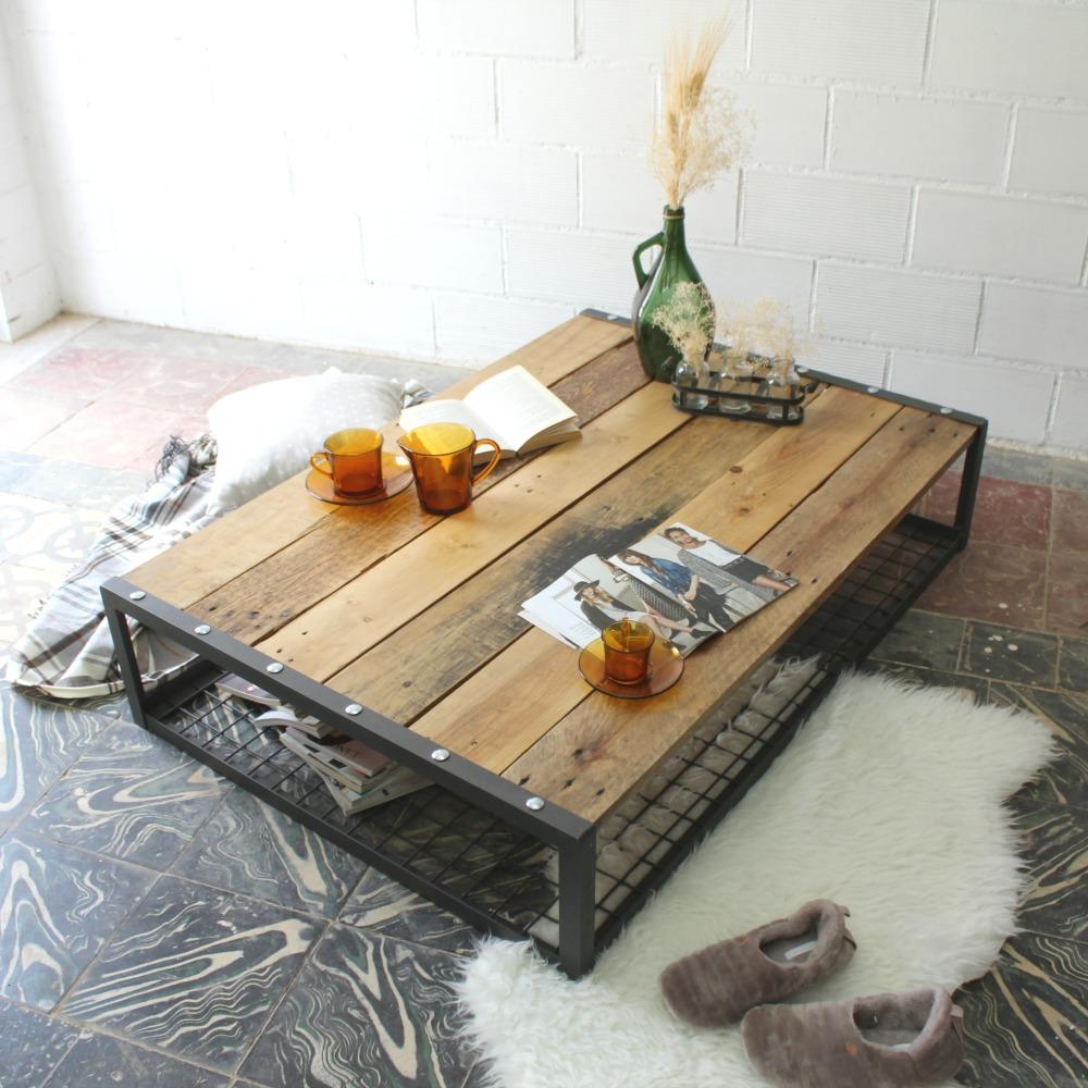 Mesa de madera natural ecodeco mobiliario for Mesa de centro de palet