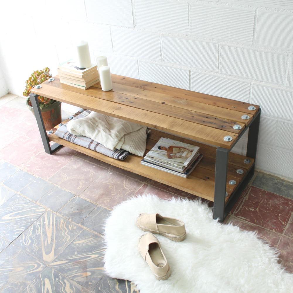Jaya mesa industrial 120x42cm - Mesa madera reciclada ...