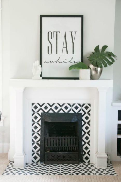 Revestimiento para la chimenea azulejo blanco negro
