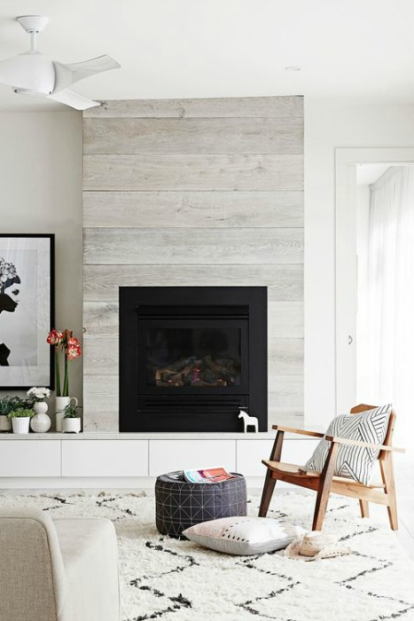 Revestimiento para la chimenea madera nordica