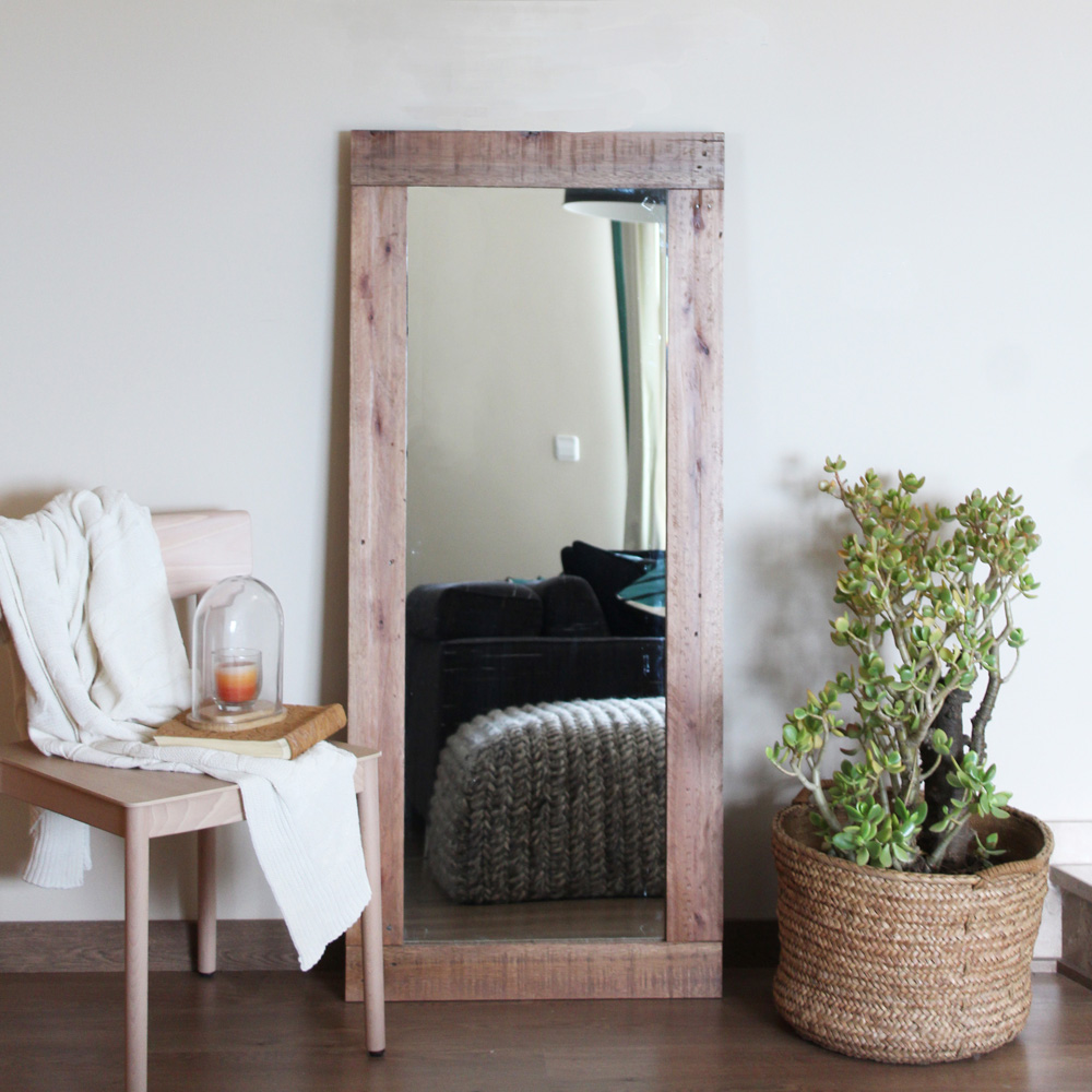 PEONIA recycled wood mirror 140x60cm -