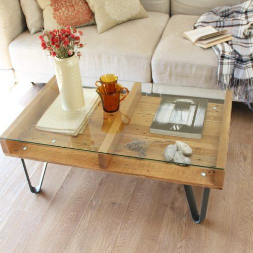 Cervino mesa industrial ecodeco mobiliario - Decorar mesa de centro de cristal ...