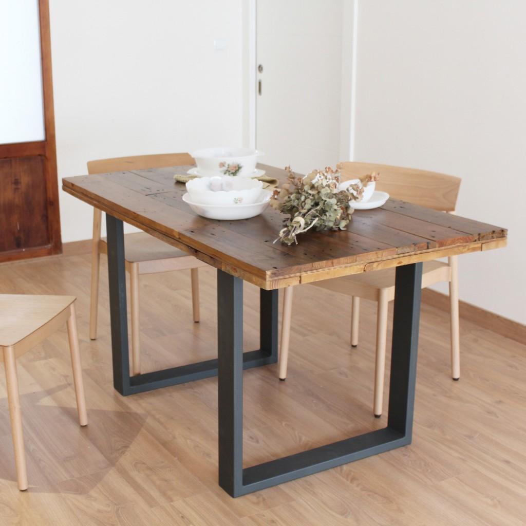 Alcazaba mesa de comedor de tableros de madera reciclada - Patas metalicas para mesas ...